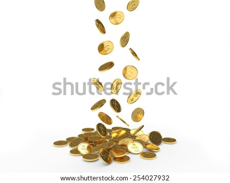 Falling golden coins isolated on white background - stock photo