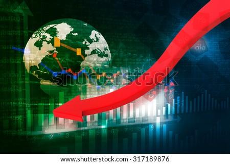 falling graph of global stock market - stock photo