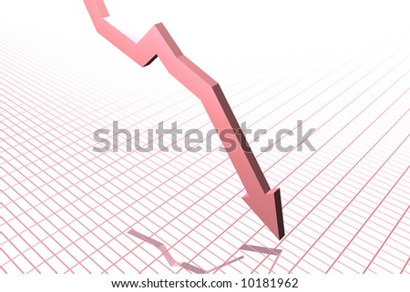 Falling Graph (red) - stock photo