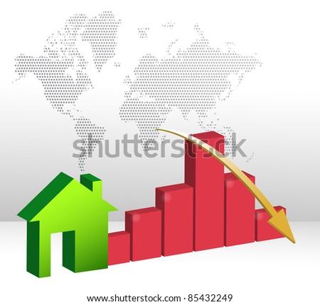 Falling home sales illustration design - stock photo