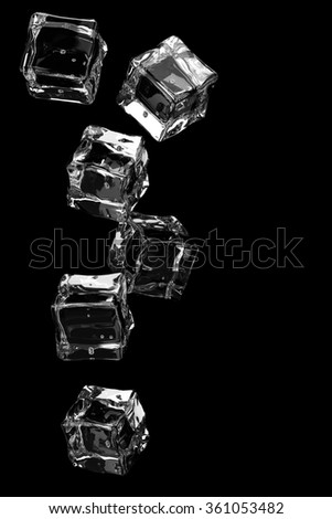 Falling ice cubes on black background.3D render. - stock photo