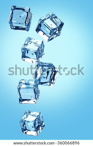 Falling ice cubes on blue background.3D render - stock photo