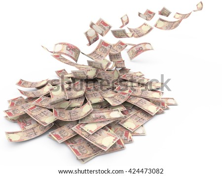 Falling Indian currency Rs.1000, Banknote, isolated on white background. High resolution, sharp 3D rendering. - stock photo