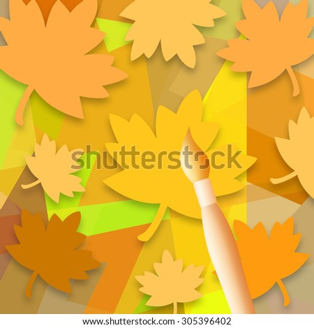 Falling leaves and paint brush - stock photo