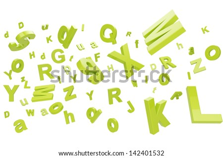 falling letters on a white background - stock photo