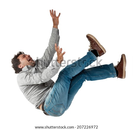 falling man isolated on white background - stock photo