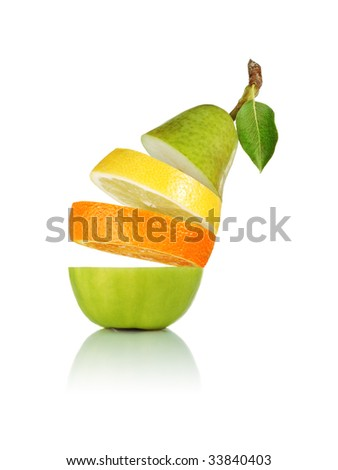 Falling mixed fruit showing its ripe pulp. Isolated on white - stock photo