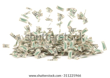 Falling money (dollars) against white background. High quality render
