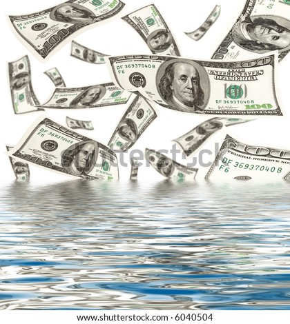 Falling money with water reflection - stock photo