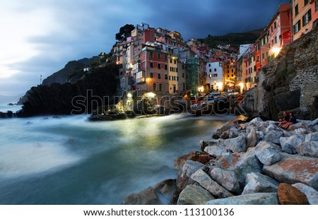 Falling night in Vernazza Village, Cinque Terre, Italy - stock photo