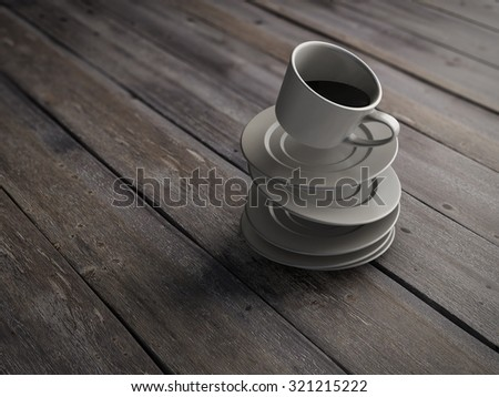 Falling on wooden board cup of coffee and saucer. Conceptual image. 3d rendering. - stock photo