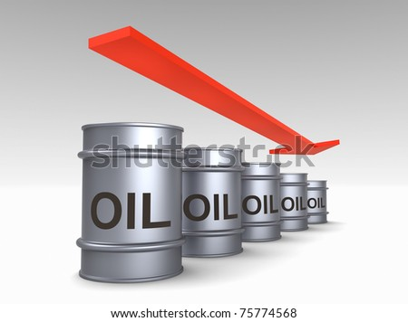 Falling price of oil concept. Computer generated 3D photo rendering. - stock photo