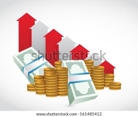 falling profits business graph. money illustration design graphic - stock photo