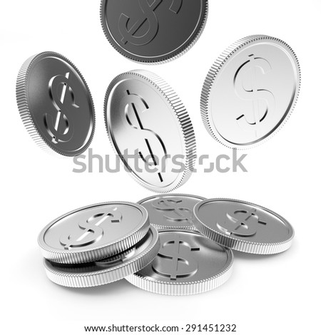 Falling silver coins close-up isolated on white background - stock photo