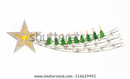Falling star, christmas decoration with small clothing pins isolated on white - stock photo