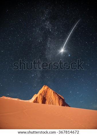 falling star . Moon Valley in Atacama Desert, Chile - stock photo
