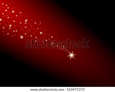 Falling star on a red background - stock photo