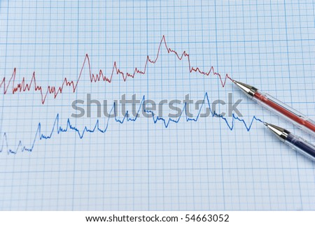 Falling stock chart in two colors ,red and blue with two pens made on millimeter paper - stock photo
