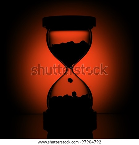 falling time on red background - stock photo