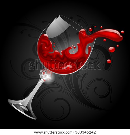 Falling transparent glass with red wine on black background. Splash of wine. Contain the Clipping Path