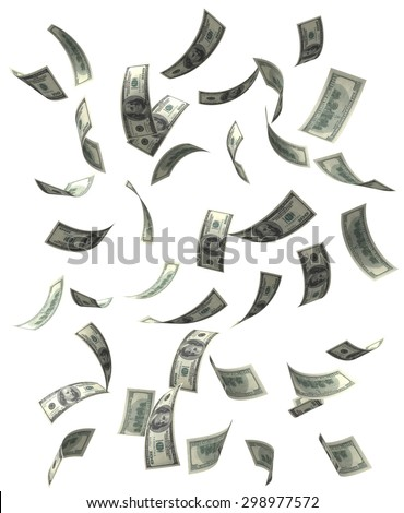 Falling US Dollars. Isolated on white. - stock photo