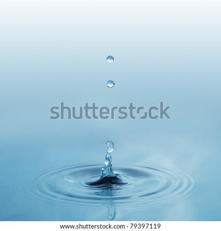falling water drops - stock photo