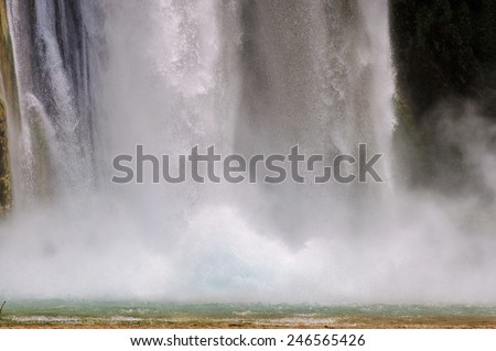 Falls in rocks, Mooney Falls, Grand Canyon, Arizona - stock photo