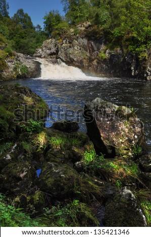 Falls of Shin in Scotland - stock photo