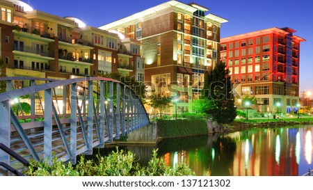 Falls Park in Greensville, South Carolina, USA - stock photo