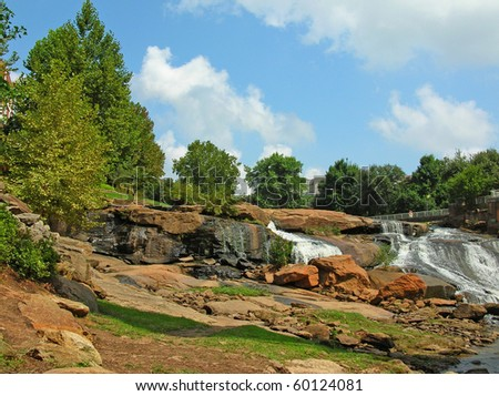 Falls Park in Greenville, SC - stock photo