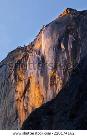 Falls the Horse tail at sunset. Yosemite National Park. - stock photo
