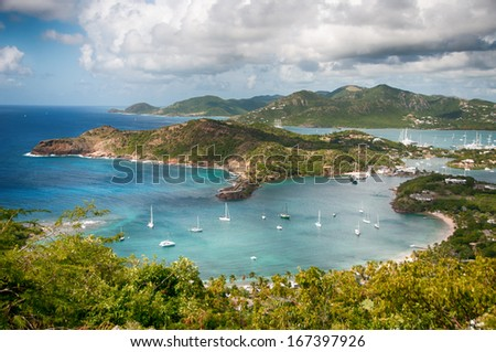 Falmouth bay - View from Shirley Heigths, Antigua - stock photo
