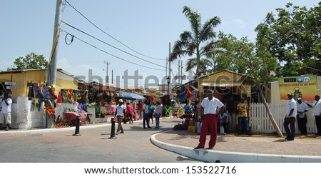FALMOUTH, JAMAICA - June 18: Street vendors selling souvenir to tourists. June 18, 2013 in Falmouth, Jamaica - stock photo