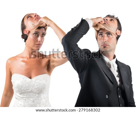 False marriage between two people not sincere - stock photo