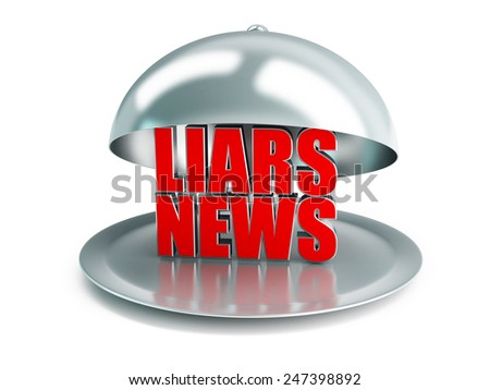 false news on a silver platter on a white background - stock photo