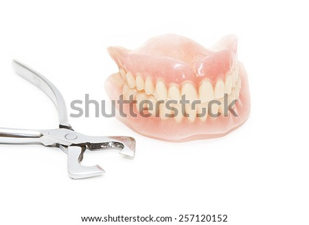 False teeth and pliers