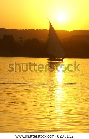 Faluka on the Nile at sunset