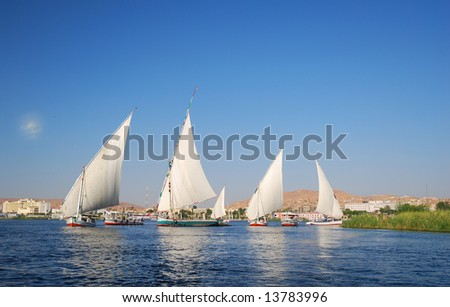 Falukas on the Nile river in Egypt - stock photo