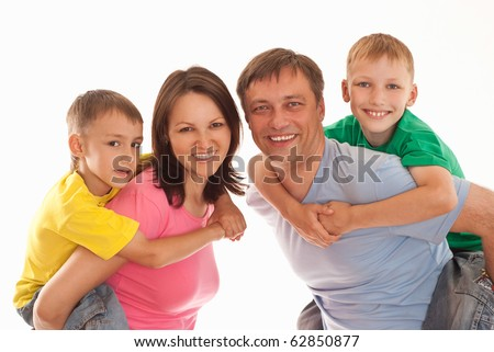famaly in a color clothes on a white background
