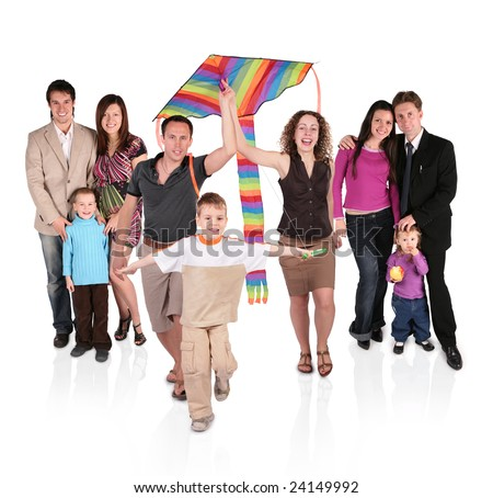 families and kite - stock photo