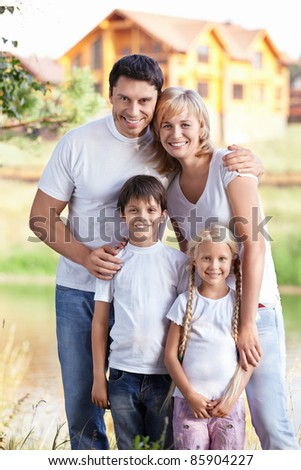 Families with children outdoors - stock photo