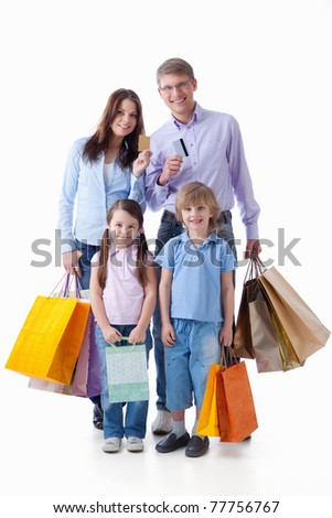 Families with credit cards and shopping on a white background - stock photo