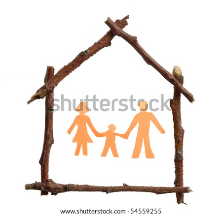 familly in the house - stock photo