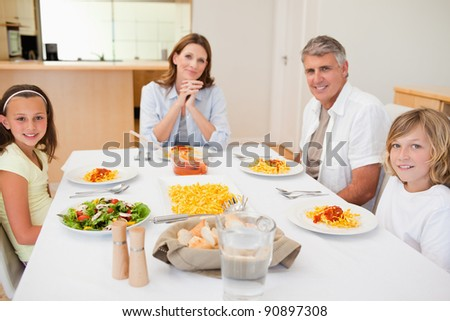 Family about to have dinner together