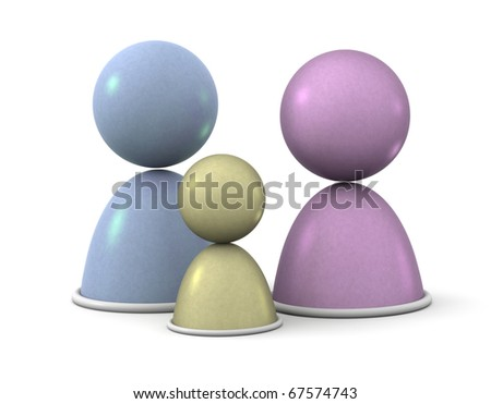 Family Abstract Concept, Three 3d people in a family portrait. - stock photo