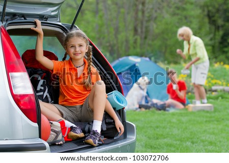 Family adventure, summer holiday - family on summer camp - stock photo