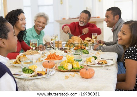 Family All Together At Christmas Dinner - stock photo