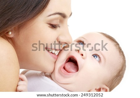 family and happy people concept - mother kissing her baby - stock photo