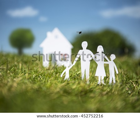 Family and House out of paper