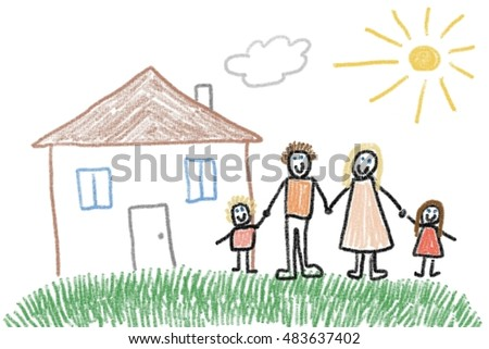 Family and new home - crayon drawing simple style child's illustration.